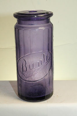 Chicago Ill Antique Purple Bunte Candy Jar Container Bottle with Lid