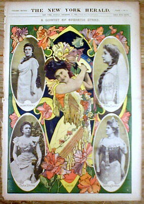 Large original 1899 Illustrated color poster w OPERA STARS from 116 years ago