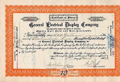 1908 General Electrical Display Company Stock Certificate Extremely Rare.