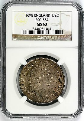 1698 England 1/2 Crown NGC MS63 ESC-554 William III