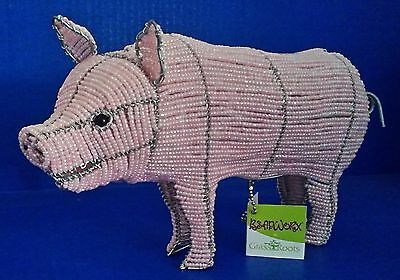 Beadworx Beaded Pig Sculpture Glass Beads Gavenized Metal Wire Structure Pink