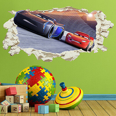Cars 3 in Wall Crack Kids Boy Girls Bedroom Decal Art Sticker Gift New