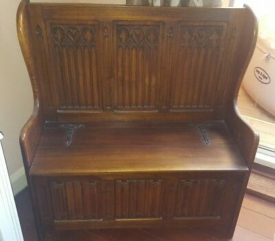 antique carved walnut seat bench settle