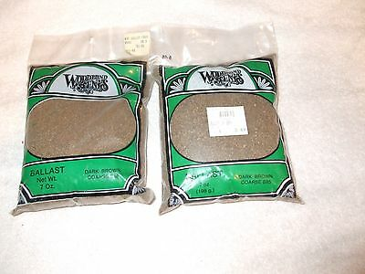 2 Woodland Scenics 7 Ounce Bags Of Course Dark Brown Ballast