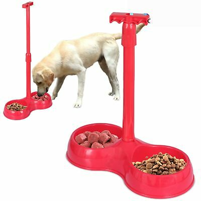 Pet Dog Cat Feeder Bowl Easy Lifting Handle Double Dish Food Telescopic Water