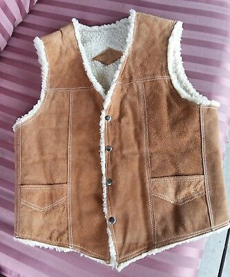 Vtg Leather Suede Western Snap mens vest faux shearling wool