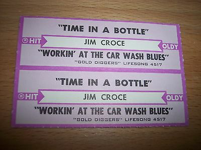 """2 Jim Croce Time In A Bottle Jukebox Title Strip CD 7"""" 45RPM Records"""