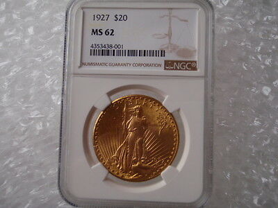 1927 $20 Gold Saint Gaudens Double Eagle Coin NGC MS 62