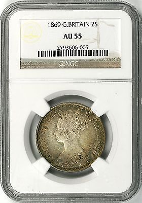 1869 Great Britain 2 Shillings Silver One Florin NGC AU55
