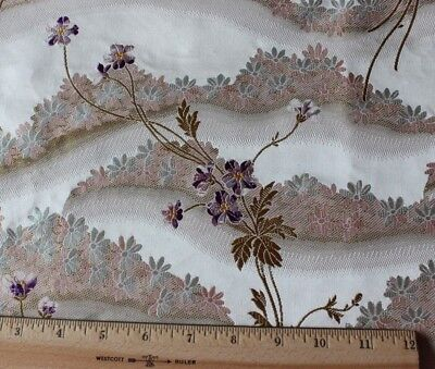 Antique French 19thC Lyon Brocaded Silk Fabric Sample With Original Tag c1840-60