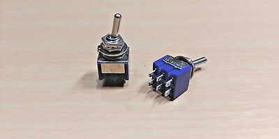 1 x PAIR - 2 Way Toggle Switch (ON / OFF or ON) Double Pole Double Throw (DPDT)