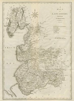 """A map of Lancashire from the best authorities"". County map. CARY 1789 old"