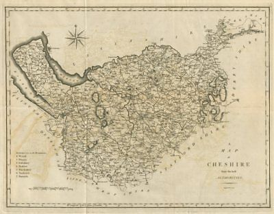 """A map of Cheshire from the best authorities"". County map. CARY 1789 old"