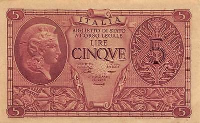 Italy 5 Lire  23.11.1944 P 31a engraved note Ventura sign.  circulated Banknote