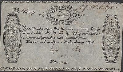 Denmark   1 Rigsbankdaler 1819  P A53 Rare circulated Banknote