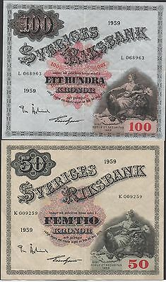 Sweden 50 & 100 kronor 1959  P 47a & P 48a  2  Circulated Banknotes