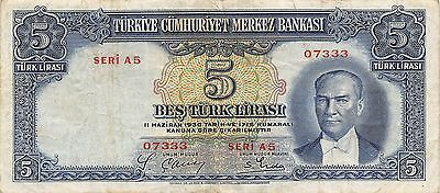 Turkey  5 Lira  15.10.1937  P 127 Series A 5 Scarce Circulated Banknote