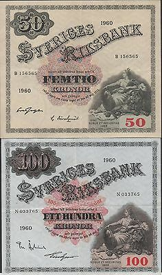 Sweden 50 & 100 kronor 1960  P 47b & P 48b  2  Circulated Banknotes