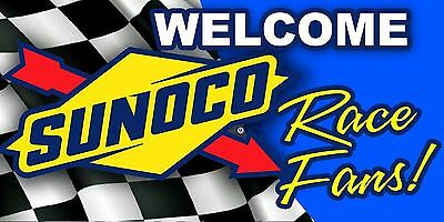 SUNOCO Welcome Race Fans! Racing Gasoline Garage Art Trailer Banner Sign Vinyl