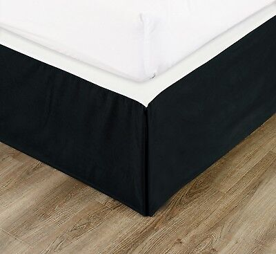 """Chezmoi Collection Solid Black Pleated 15"""" Drop Bed Skirt Dust Ruffle, Twin XL"""