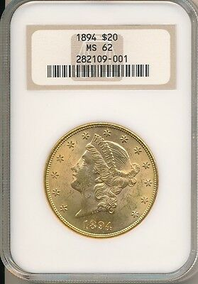 1894 Gold $20 Liberty Head Double Eagle-Ngc Graded Ms62-Stunning! Ships Free!