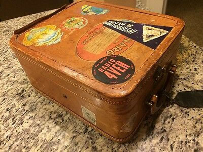 Antique Travel Suitcase/Case/Luggage World Travel Stickers, Bolex Case Camera