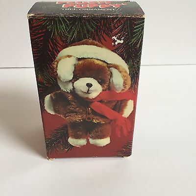 Avon Plush Puppy Christmas Tree Ornament Plush Stuffed Red Scarf 1984 Vintage