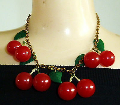 RARE Art Deco Red Bakelite CHERRIES & Green Celluloid Leaves Vintage Necklace
