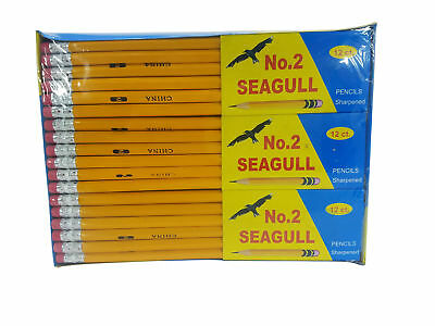 Pencils Pre-sharpened No. 2 144/box 12 Boxes of 12 New Improved Eraser New