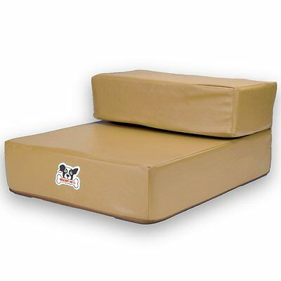 Smooth Steps Folding Leather Pet Stairs by Weebo Pets (Tan) (XA1