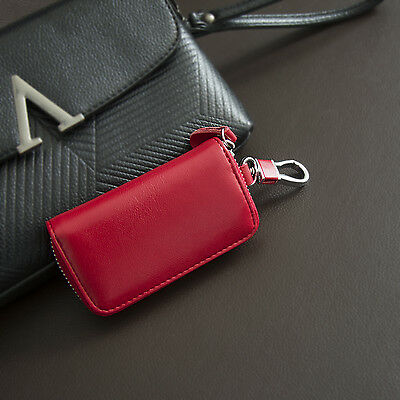Zipper Leather Car Key Bag Chain Card Holder Wallet Case Cover Key Case Pouch US