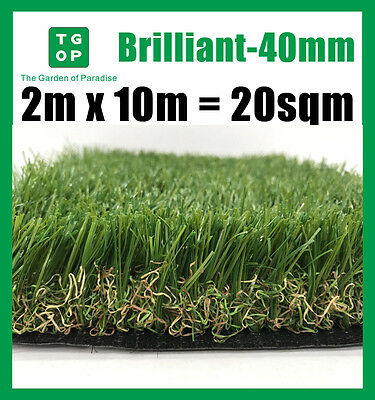 Brilliant-40mm 6Tone Artificial Grass Synthetic Turf Lawn Carpet 2m x 10m=20sqm