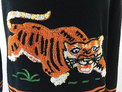 Cyn Les Shirlee Small ? Sweater Vintage Pullover Embroidered Tiger Black Orange