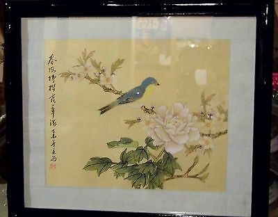 Vintage Chinese Silk Hand Painted Bamboo Framed Oriental Painting Bird Flowers