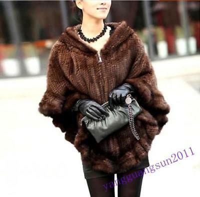 Real Knitted Chic Womens Cape Coat Jacket Luxury Outwear Hooded New Fashion Size