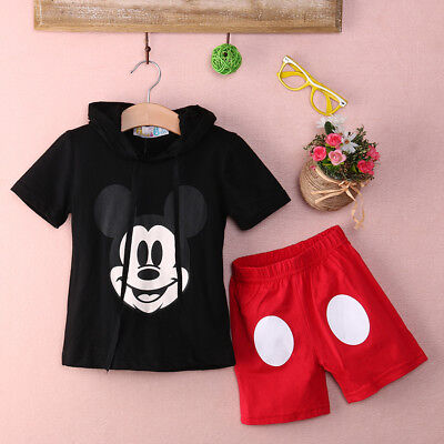 New Baby Boy Girl Kids Minnie Mickey T-shirt Clothes+Short Pants Outfit Clothing