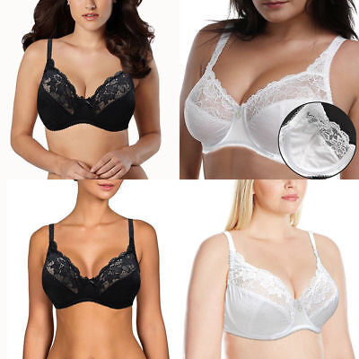 Ladies Firm Control Soft Satin Cup Bra Unpadded Non Wired Full Cup 34B - 48E