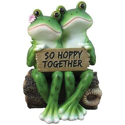 Statue Happy Frog Cute Couple Decor Garden Indoor Outdoor Lawn Yard Home Gift