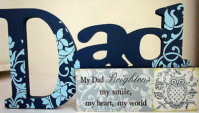 """my Dad Brightens My Smile, My Heart, My World"" Table Sign Father's Day Gift Bn"