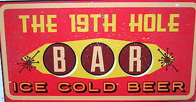 "Bar Door/wall Plaque Sign ""19Th Hole Bar"" Great Father's Day Or Birthday Gift Bn"