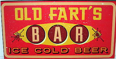 "Bar Door/wall Plaque Sign ""old Fart's Bar Ice Cold Beer"" Father's Day Gift Bn"