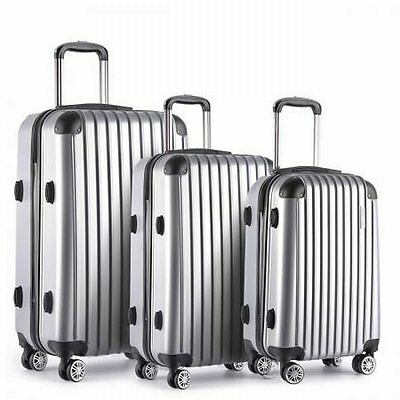 "NEW 3pc Lightweight Hard Shell Travel Case Luggage 20"" 24"" 28"" Silver w TSA Lock"