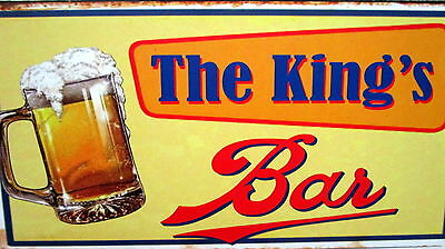 "Bar Door/wall Plaque Sign ""the King's Bar"" Fun Father's Day Or Birthday Gift Bn"