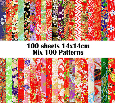100 sheets 14cmx14cm Japan Origami Yuzen Chiyogami Washi Papers