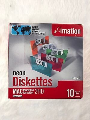 "NEW Imation Neon MAC Formatted 2 HD 1.4 MB 3.5"" Diskettes 10 NEW NIB Computer"