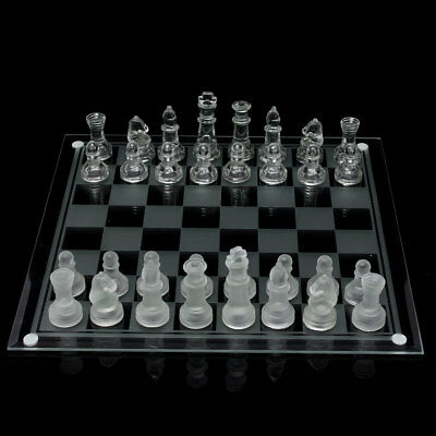 35x35cm Megnetic Crystal Elegant Glass Chess Board Game Set +Mats+Checkers Piece