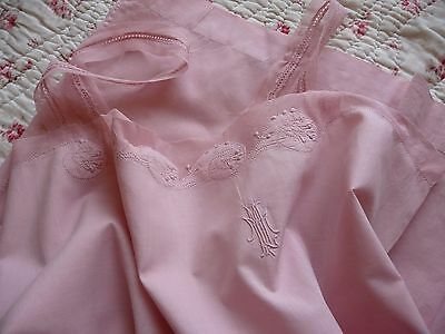 Antique French Lingerie French Night Gown French Chemise Under Slip Pink Chemise
