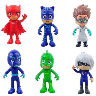 6 pcs PJ Masks Catboy Owlette Gekko Cloak PVC 8-9cm Action Figures Kids Toy New