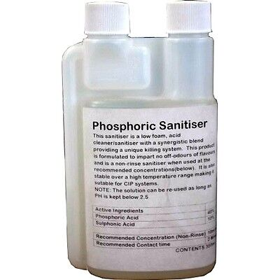 Home Brewing PHOSPHORIC SANITISER Food Grade New Formula 250ml