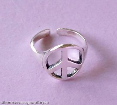 Peace Sign Toe Ring STERLING SILVER